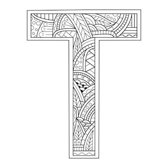 Hand getekend van aphabet letter t in zentanglestijl