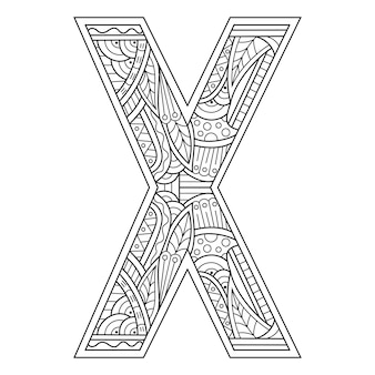 Hand getekend van aphabet letter x in zentanglestijl