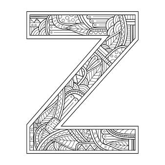 Hand getekend van aphabet letter z in zentanglestijl