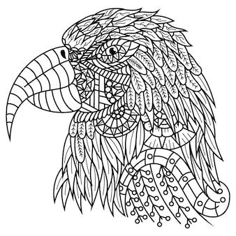 Hand getekend van ara hoofd in zentanglestijl