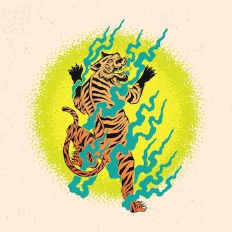 Hand getekend van boze tijger en vuur met gedetailleerde tekenstijl