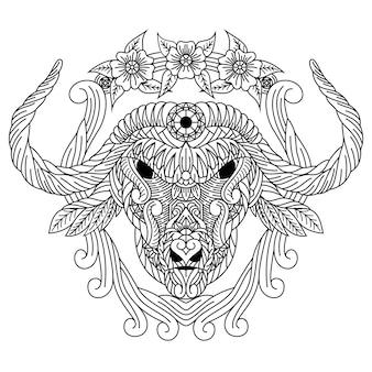 Hand getekend van buffelkop in zentanglestijl