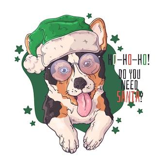 Hand getekend van corgi hond in kerstaccessoires