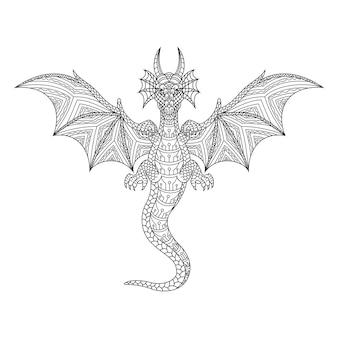 Hand getekend van draak in zentanglestijl