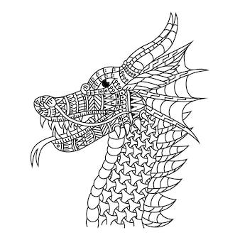 Hand getekend van drakenkop in zentanglestijl