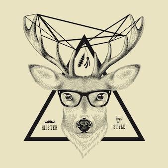 Hand getekend van een hert hoofd in hipster stijl