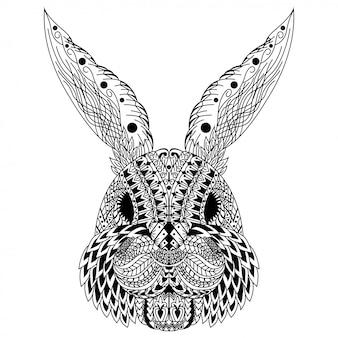 Hand getekend van konijn hoofd in zentanglestijl