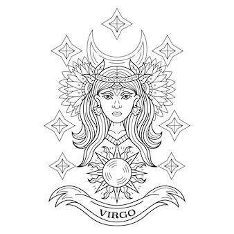 Hand getekend van maagd in zentanglestijl