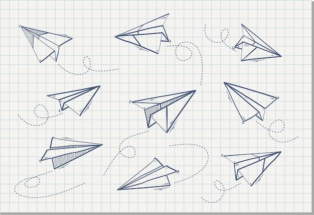 Hand getekend van papieren vliegtuigje, vectorillustratie
