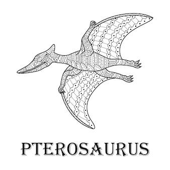 Hand getekend van pterosauriër in zentanglestijl