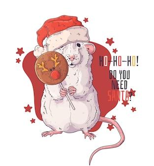 Hand getekend van rat in kerstaccessoires