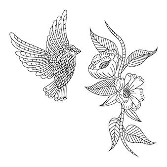 Hand getekend van zoemende vogel en bloemen in zentanglestijl