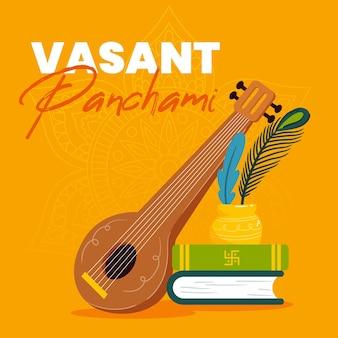 Hand getekend vasant panchami illustratie met boeken en veena
