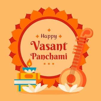 Hand getekend vasant panchami illustratie