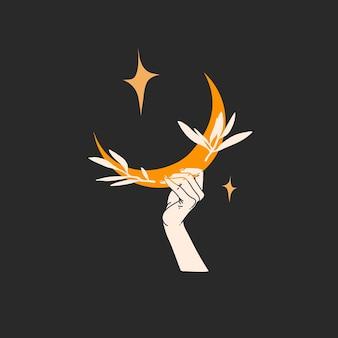 Hand getekend vector abstracte voorraad grafische illustratie met logo-element