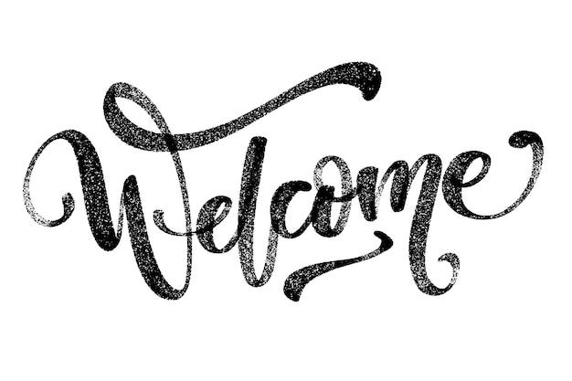 Hand getekend vector belettering. welkom woord door handen. geïsoleerde vectorillustratie. handgeschreven moderne kalligrafie.