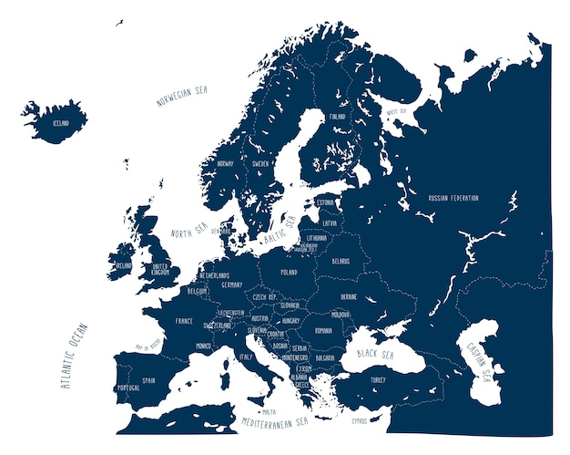 Hand getekend vector kaart van europa