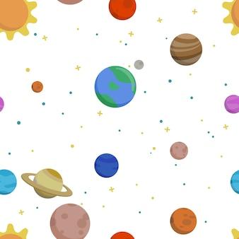 Hand getekend vector naadloos patroon met planeten van het zonnestelsel