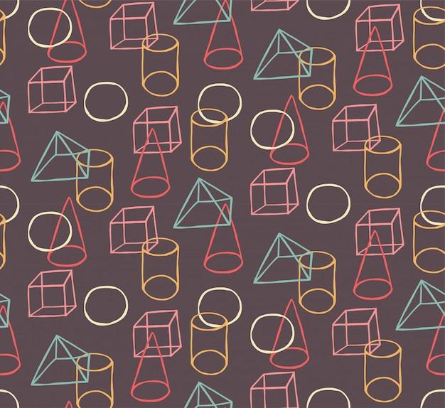 Hand getekend vector naadloze patroon met geometrische vormen