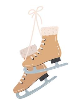 Hand getekend vector paar vintage schaatsen die aan veters hangen