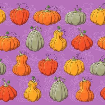 Hand getekend vector patroon met halloween-pompoenen.
