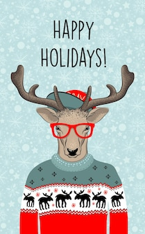 Hand getekend vectorillustratie van kerst herten in groene trui. hipster in glazen en hoed. vector illustratie