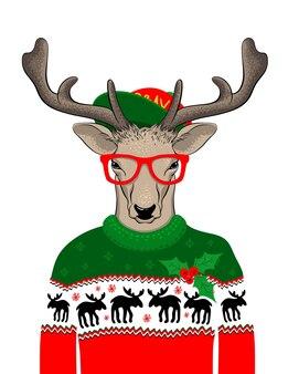 Hand getekend vectorillustratie van kerst herten in groene trui op witte achtergrond. hipster met bril en hoed