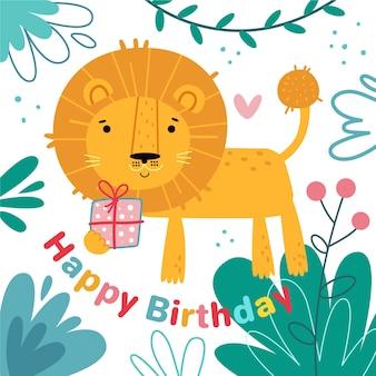 Hand getekend verjaardag achtergrond en leeuw