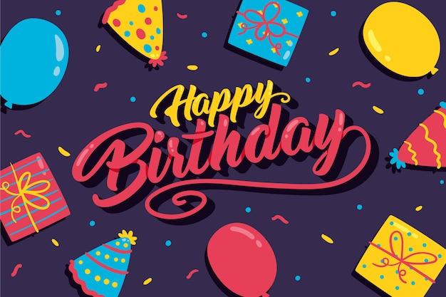 Hand getekend verjaardag achtergrond met ballonnen en geschenken