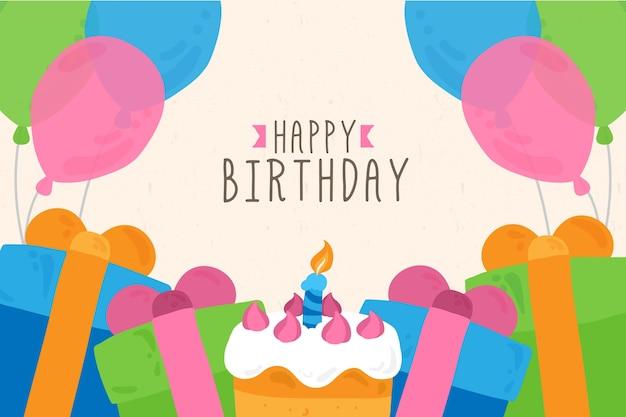 Hand getekend verjaardag achtergrond met cake en geschenken