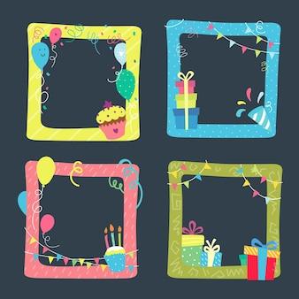 Hand getekend verjaardag collage frame collectie