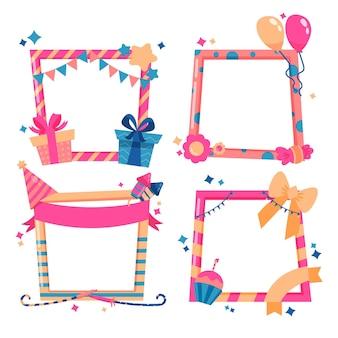 Hand getekend verjaardag collage frame met geschenken