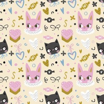 Hand getekend verjaardagspatroon met konijn, kat en snoepjes
