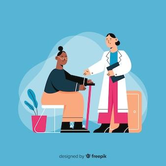 Hand getekend verpleegkundige het verzorgen van de patiënt
