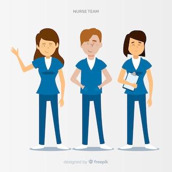Hand getekend verpleegster-team