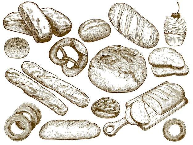 Hand getekend vers brood. sesambroodje, krakeling en stokbrood.