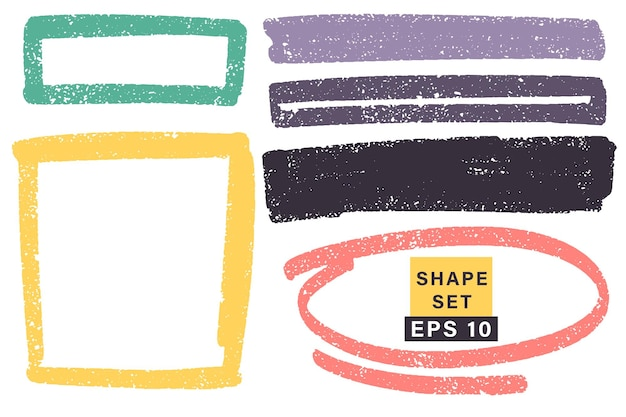 Hand getekend verschillende geometrische vormen en frames. kleurrijke artistieke hand getrokken