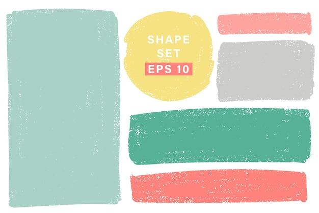 Hand getekend verschillende geometrische vormen instellen. kleurrijke artistieke hand getrokken Premium Vector
