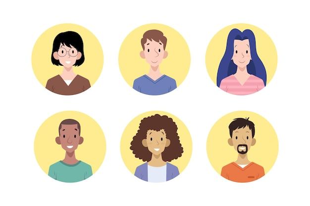 Hand getekend verschillende mensen iconen pack