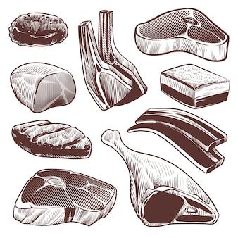 Hand getekend verse rauwe vleesproducten collectie