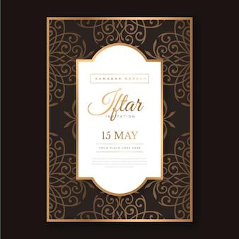 Hand getekend verticale iftar uitnodigingssjabloon