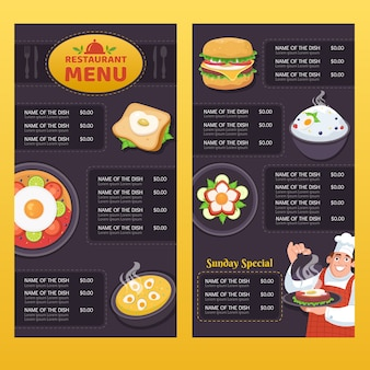 Hand getekend verticale restaurant menusjabloon