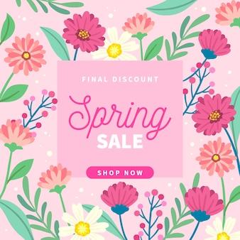 Hand getekend vierkante banner met lente verkoop