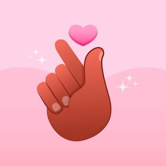 Hand getekend vingerhart geïllustreerd