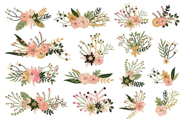 Hand getekend vintage bloemen elementen en boeketten