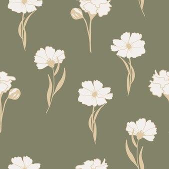 Hand getekend vintage bloemen naadloos patroon bloemen achtergrond