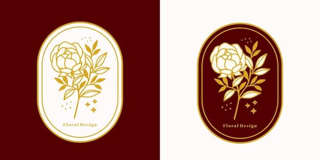 Hand getekend vintage botanisch roze bloemlogo en vrouwelijk schoonheidsmerkelement