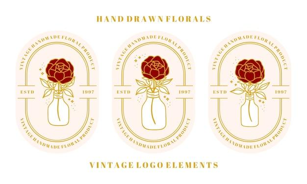 Hand getekend vintage botanische roos peony bloem logo sjabloon fles pot en vrouwelijke schoonheid merk element collectie
