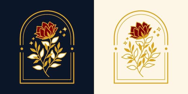 Hand getekend vintage botanische roze bloem logo-element