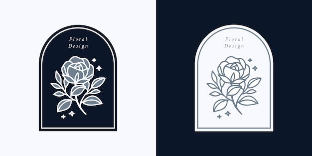 Hand getekend vintage botanische roze bloem logo sjabloon en vrouwelijke schoonheid merk elementenset